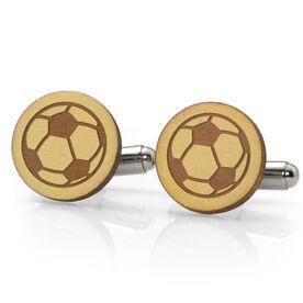 Soccer Engraved Wood Cufflinks Ball
