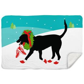 Running Sherpa Fleece Blanket Rex The Running Dog With Christmas