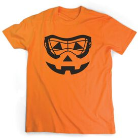 Girls Lacrosse Short Sleeve Tee - Lacrosse Goggle Pumpkin Face
