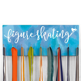 Figure Skating Hooked on Medals Hanger - Script with Skate Watercolor
