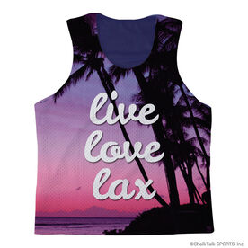 Girls Lacrosse Racerback Pinnie Live Love Lax Beach Sunset