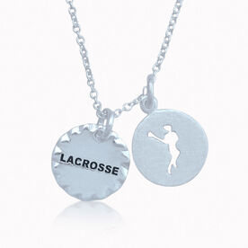 Livia Scalloped Lacrosse Charm With Livia Girl Silhouette