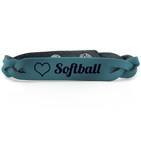 Softball Leather Engraved Bracelet Love Softball