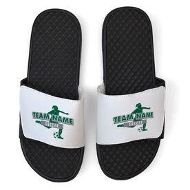 Soccer White Slide Sandals - Your Girls Team Name