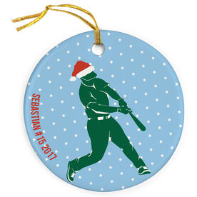 Baseball Porcelain Ornament Silhouette With Santa Hat