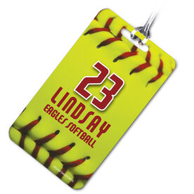 Softball Bag/Luggage Tag Personalized Big Number with Softball Stitches
