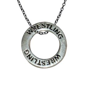 Silver Wrestling Message Ring Necklace