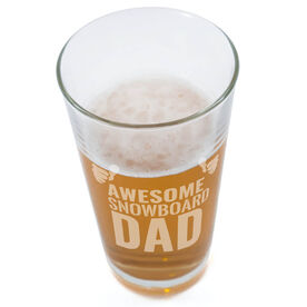 Snowboarding 20 oz. Beer Pint Glass Awesome Snowboard Dad