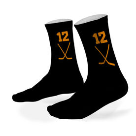 Hockey Printed Mid Calf Socks Hockey Stick Team Colors