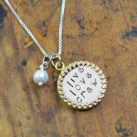 Sterling Silver Hand Stamped Curly Font Love Live Crew Framed Pendant Necklace with Pearl
