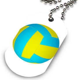 Volleyball Printed Dog Tag Necklace Volleyball Graphic
