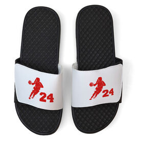Basketball White Slide Sandals - Girl Player with Number
