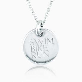 Sterling Silver Swim Bike Run Engraved 20mm Pendant Charm