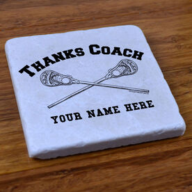 Thanks Coach With Lacrosse Crossed Sticks - Stone Coaster