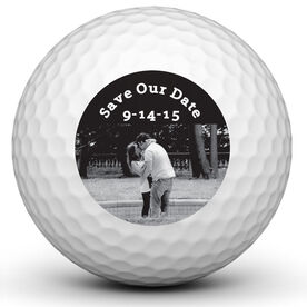 Save the Date B&W Golf Ball