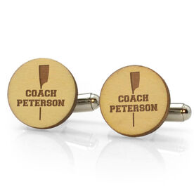 Crew Engraved Wood Cufflinks Coach Name With Crossed Oars