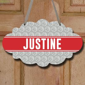 Basketball Cloud Room Sign Personalized Basketball Pattern