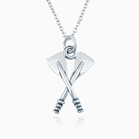 Sterling Silver Crossed Oars Crew Necklace