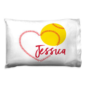 Softball Pillowcase - Heart with Personalization