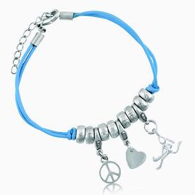Peace Love Field Hockey Girl (Stick Figure) Silver Charm Bracelet