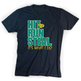 Softball T-Shirt Short Sleeve Hit Run Steal