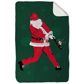Baseball Sherpa Fleece Blanket Homerun Santa