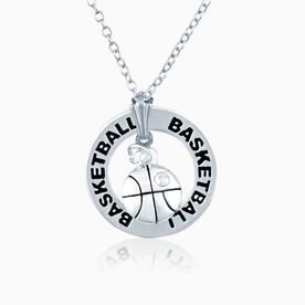 Silver Basketball Charm and Message Ring Necklace
