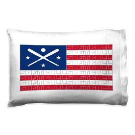 Softball Pillowcase - American Flag Words
