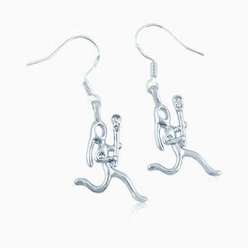 Silver Lacrosse Girl (Stick Figure) Earrings