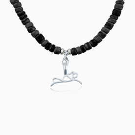 Natural SportBEAD Adjustable Necklace - Sterling Silver Swimmer Stick Figure Charm