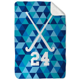 Field Hockey Sherpa Fleece Blanket Personalzed Field Hockey Sticks Triangles