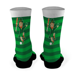 Baseball Printed Mid Calf Socks Lucky Baseball Leprechaun