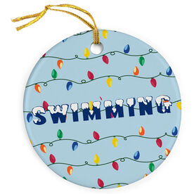 Swimming Porcelain Ornament Swim With Christmas Lights