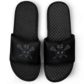 Lacrosse Black Slide Sandals - Sticks & Skull with Number