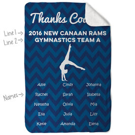 Gymnastics Sherpa Fleece Blanket Personalized Thanks Coach Chevron