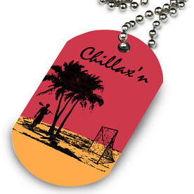 Lacrosse Printed Dog Tag Necklace Chillax'N Beach Guys