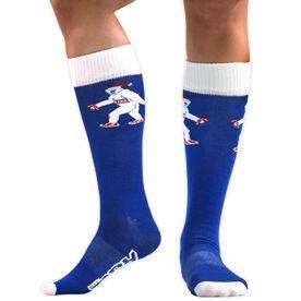 Running Woven Mid Calf Socks - Sweaty Yeti (Blue/White)