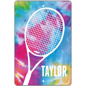 """Tennis Aluminum Room Sign Personalized Tie Dye with Tennis Racket (18"""" x 12"""")"""