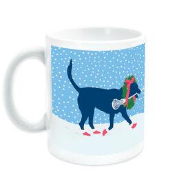 Girls Lacrosse Ceramic Mug LuLa the Christmas Lax Dog