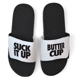 Running White Slide Sandals - Suck It Up Butter Cup