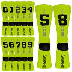 Team Number Woven Mid Calf Socks - Neon Yellow