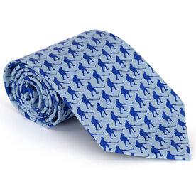 Hockey Players Pattern Blue Hockey Silk Tie