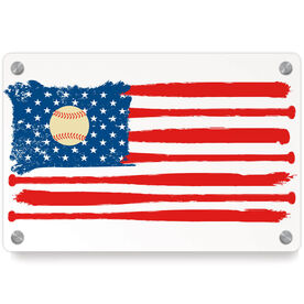 Baseball Metal Wall Art Panel - American Flag