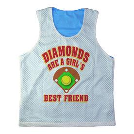 Girls Softball Racerback Pinnie Personalized Diamonds Are A Girl's Best Friend