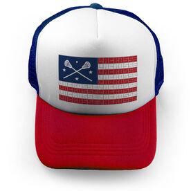 Girls Lacrosse Trucker Hat - American Flag Words
