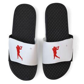Football White Slide Sandals - Silhouette