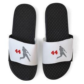 Baseball White Slide Sandals - Batter with Number