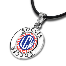 Soccer Circle Necklace LV Chevron Monogram