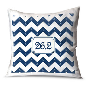 Running Throw Pillow Chevron 26.2