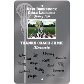 """Lacrosse 18"""" X 12"""" Aluminum Room Sign Personalized Thanks Coach Team Photo with Signatures"""